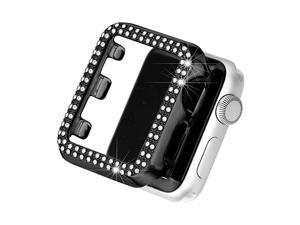 Bling Case Compatible with Apple Watch 42mm Full Cover Bumper Screen Protector for iWatch Series 3 2 1 Black42mm