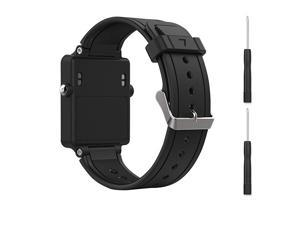 Black Replacement Band for Garmin Vivoactive Silicone Replacement Fitness Bands Wristbands with Metal Clasps for Garmin vivoactive GPS Smart Watch