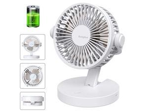 Operated Fan USB Desk Fan Foldable Small Quiet with 3 Speeds Rechargeable or USB Powered Table Fan for Home Office Travel Camping White