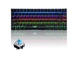 Wired Mechanical KeyboardAjazz AK33 82 Keys Compact Computer Gaming Keyboard with 20 LED Backlit Modes Blue Equivalent Switches for Windows PC GamersBlue Switch