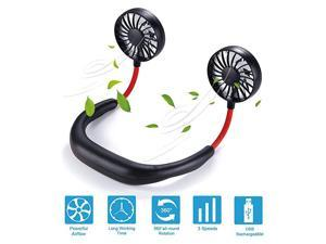 Free Neck Fan Portable Fan Mini USB Personal Rechargeable Sports Wearable Neckband Fan 3 Speed Adjustable Headphone Design Suitable for Outdoor Indoor Office Black red