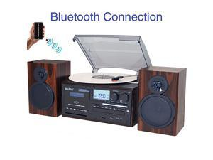 BT-28MB, Bluetooth Classic Style Record Player Turntable with AM/FM Radio, CD / Cassette Player, 2 Separate Stereo Speakers, Record from Vinyl, Radio, and Cassette to MP3, SD Slot, USB, AUX