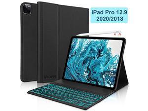 Keyboard Case for iPad Pro 129 2020 4th Generation2018 3rd Gen  Backlit Detachable Bluetooth Keyboard Folio Slim Case Support iPad Pencil Charging iPad Pro 129 Case with Keyboard Black