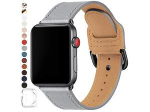 Bands Compatible with Apple Watch Band 38mm 40mm 42mm 44mm Top Grain Leather Smart Watch Strap Compatible for Men Women iWatch Series 6 5 4 3 2 1SE Light GrayBlack 42mm 44mm