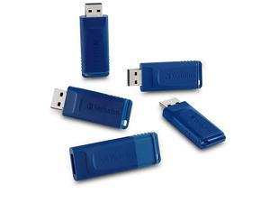 8GB USB 20 Flash Drive CapLESS amp Universally Compatible 5 Pack Blue 99121