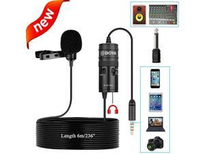 New Monitor Lavalier Microphone for Canon iPhone Podcast 19 Feet  Omnidirectional Condenser Mic for Nikon Sony iPhone 10 8 8 Plus 7 6 DSLR Camcorder Audio Recorder YouTube Interview Video