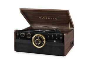 6in1 Wood Bluetooth Mid Century Record Player with 3Speed Turntable CD Cassette Player and Radio
