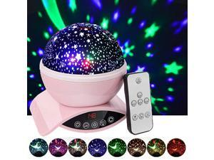 Night Lights Rechargeable Star Projector with Remote Control and Timer Auto Off Design Rotating Projection Lighting Lamp Room Decor Pink