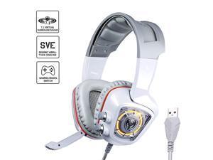 USB Plug Virtual Urage Soundz 71 Surround Sound Gaming Headset for PC PS4 Laptop with Vibration Bass Mic amp LED Lights G910 White