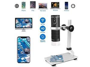 WiFi USB Digital Microscope HD 1080P Resolution 50 to 1000x Wireless Magnification Endoscope 8 LED Mini Camera with Updated Stand Portable Case Compatible with iPhone iPad Android Mac Windows