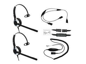 Deluxe Headset Training Solution Includes 2 x  HD500 Single Ear headsets with a NC Microphone Training Cord and a Smart Lead That Works on 95 of Phones with RJ9 RJ11 Headset Port