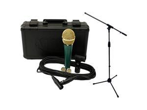 LSC1GRG Live Series Green Body with Gold Grill Condenser Mic wStand and C