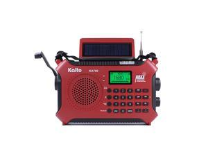 KA700 Bluetooth Emergency Hand Crank Dynamo amp Solar Powered AM FM Weather NOAA Band Radio with Recorder and MP3 Player Rugged Design for Hiking Camping Construction Sites EtcRed