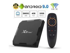 Max+ Android TV Box 90 Amlogic S905X3 4GB RAM 32GB ROM 24G58G WiFi 1000M LAN Bluetooth 40 H265 HDR 3D 4K 60fps with 24G Voice Remote Control