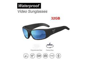 Waterproof Video Sunglasses 1080P Full HD Video Recording Camera with 32GB Builtin Memory and Polarized UV400 Protection Safety LensesUnisex Sport Design