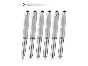 Stylus Pen for Touchscreen Devices Tablets iPads iPhones MultiFunction Capacitive Pen with LED Flashlight Ballpoint Ink Pen 3in1 Metal Pen 6PK Silver