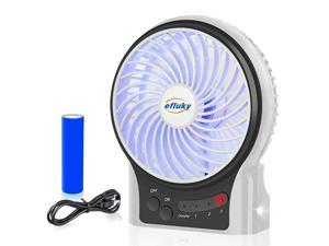 3 Speeds Mini Desk Fan Rechargeable Battery Operated Fan with LED Light and 2200mAh Battery Portable USB Fan Quiet for Home Office Travel Camping Outdoor Indoor Fan 49InchWhite