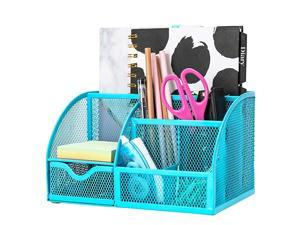 Mesh Desk Organizer Office with 7 Compartments + Drawer Desk Tidy Candy Pen HolderMultifunctional Organizer EX348 Blue