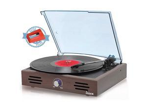 JTF536 Record Player Turntable USB for Vinyl Records 3 Speed Belt Driven Vintage Record Player VinyltoMP3 Stereo Built in Speakers Lp Phonograph RCA Output Natural Wood Effect Wengue