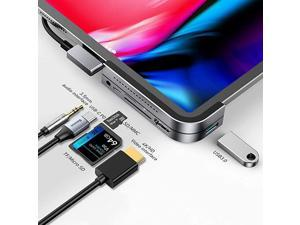 iPad Pro USB C Hub,  6-in-1 Adapter for iPad Pro 2021 2020 2018 12.9/11 inch, Docking Station with 4K HDMI, USB-C PD Charging, SD/Micro Card Reader, USB 3.0 & 3.5mm Headphone Jack