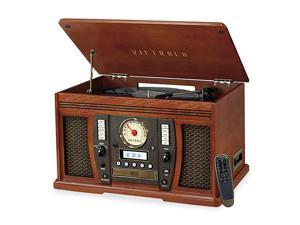 Aviator 8in1 Bluetooth Record Player amp Multimedia Center with Builtin Stereo Speakers 3Speed Turntable Vinyl to MP3 Recording Wireless Music Streaming Mahogany