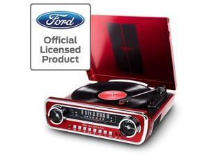 Mustang LP 4in1 Vinyl Record PlayerTurntable with Built In Speakers Plus a Radio USB Playback and Aux Input Vibrant Red Finish MUSTANGLPRED
