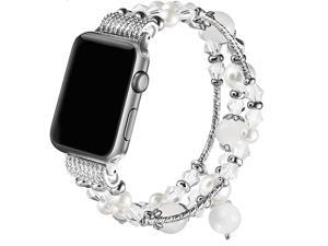 Band Compatible with Apple Watch 42mm 44mm Women Girl Elastic Handmade Pearl Bracelet Replacement for 42mm Apple Watch Series 5 4 3 2 1White