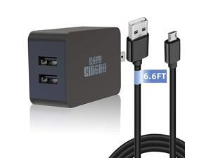 Fire Fast Charger 5V 24A 24W Charger for  Fire HD HDX 6quot 7quot 89quot 97quot Fire 7 8 Dual Port USB Wall Charger with 66FT Micro USB Cable for Samsung Galaxy S7 Android Phone