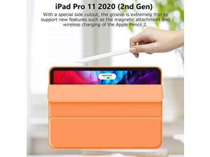 iPad Pro 11 Case 2020 with Pencil Holder 2nd Generation  Premium Protective Case Cover with Soft TPU Back and Auto SleepWake Feature for 20202018 iPad Pro 11 Orange