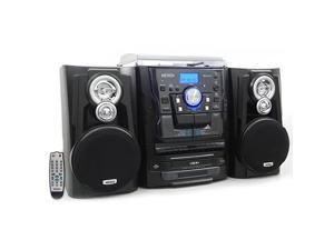 JMC1250 Bluetooth 3Speed Stereo Turntable and 3 CD Changer with Dual Cassette Deck