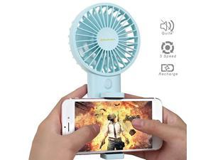 Fanwith Cell Phone HolderAjustable Angle Wind SmallMini USB Fan Portable Personal Desk Desktop Fan 3 Speed Rechargeable Battery Up to 7 Hours for OutdoorCampingHikingOfficeBlue