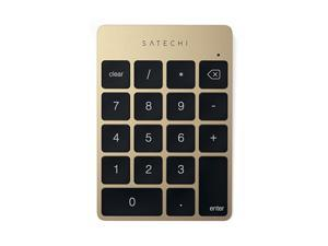 Slim Aluminum Bluetooth Wireless 18Key Keypad Keyboard Extension Compatible with 2017 iMac iMac Pro MacBook Pro MacBook iPad iPhone Dell Lenovo and More Gold