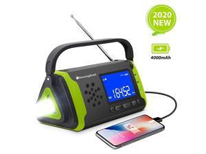 NOAA Weather Crank Solar Powered Portable Radio with 4000mAh Battery Power for Cell Phone, Bright Flashlight for Household and Outdoor Survival (097-Green)
