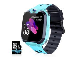 Kids Smartwatch Phone Watch for Boys Girls with Phone Calls 7 Games Music MP3 Player 1GB SD Card SOS Silent Mode Smart Watch for Children Student 412 Years Old as Birthday Gift Blue