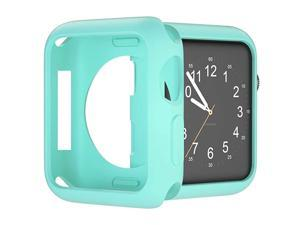 Case for Apple Watch Series 3 2 1 42mm, Matte Cover Lightweight Shockproof Anti-Scratch Silicone Iwatch Bumper - Light Blue 42mm