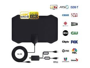 Digital HD TV Antenna, 60-120 Miles Range, 14.56ft Coax Cable Indoor TV Antenna Support 4K 1080p & All Older TV's Powerful HDTV Amplifier Signal Booster