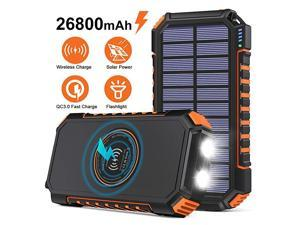 Wireless Solar Charger 26800mAh  Portable Charger with 4 Outputs amp LED Flashlight External Battery Pack USB C Quick Charge Qi Power Bank for iPhone iPad Samsung and Outdoor Camping