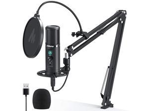 USB Microphone with Zero Latency Monitoring  AU-PM422 192KHZ/24BIT Professional Cardioid Condenser Mic with Touch Mute Button and Mic Gain Knob for Recording, Podcasting, Gaming, YouTube