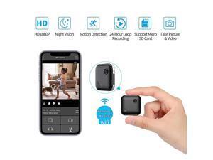 Spy Camera WiFi 1080P Wireless Hidden Camera Spy Cam Nanny Cam Audio Record Live Streaming Small Surveillance Camera Night Vision Motion Detection for HomeSecurityCar with Phone APP