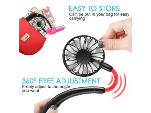 Mini Portable Hand Free Hanging Neck Sports USB Fan with 360 Degrees Free RotationColorful lampRandom Aromatherapy Green