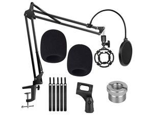Microphone Suspension Stand, Adjustable Boom Scissor Arm Stand with Shock Mount Mic Clip Holder 3/8 to 5/8 Screw Adapter Pop Filter and Foam Windscreens Radio Broadcasting and Recording