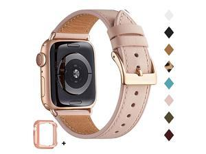 Band Compatible for Apple Watch 38mm 40mm 42mm 44mm Genuine Leather Replacement Strap for iWatch Series 6 SE 5 4 3 2 1 Sports EditionPink Sand Band+Rose Gold Adapter 38mm 40mm