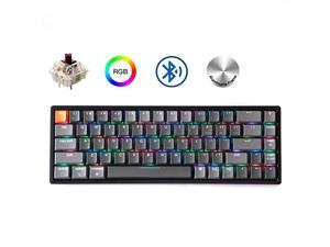 K6 68-Key Wireless Bluetooth/USB Wired Gaming Mechanical Keyboard, Compact 65% Layout RGB LED Backlit N-Key Rollover Aluminum Frame for Mac Windows, Gateron Brown Switch