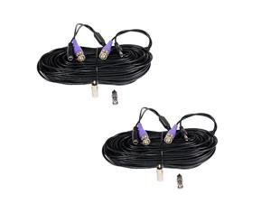 2 Pack 100ft HD Security Camera Video Power Cables Pre-Made All-in-One Extension Wire Cord with BNC RCA Connectors for 720P 960P 960H CCTV Surveillance Camera DVR System WT2