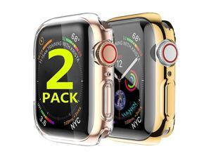 2 Pack Compatible with Apple Watch Case Screen Protector 44mm Overall Bumper TPU Full Front Protective Shockproof Clear Cover for Apple iWatch Series 54 Gold+Clear 44mm