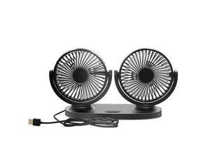 5V 2A 360° Rotating Dual USB Fan Portable Personal Office Desk Car USB Fan