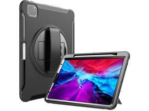 iPad Pro 129 Rugged Case 2020 2018 Support Apple Pencil 2 Charging Heavy Duty Shockproof Rotatable Kickstand Protective Cover for iPad Pro 129 4th Gen 2020 3rd Gen 2018 Black