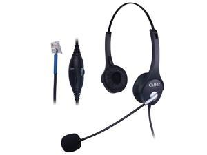 C402C1 Corded Telephone Headset Binaural, Call Center RJ11 Headphones with Noise Canceling Mic, Compatible for Plantronics M10 M12 M22 MX10 Amplifiers or Cisco 7940 7942 7971 Office IP Phones