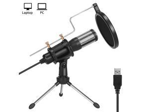 Studio Recording MicrophoneUSB Condenser Podcast MicrophonePlug and Play Desktop Gaming Streaming Microphone with Pop Filter for PcSkypeSingYouTube