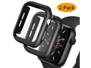 2Pack]  Hard PC Case with Tempered Glass Screen Protector Compatible with Apple Watch Series 6/5/4/SE 44mm, Case for All Around Coverage Protective Bumpers Cover for iWatch Series SE/6/5/4 44mm